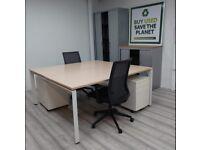 Forma 5 Sentis Office Chair, Oak Back To Back Bench Desk & Pedestal Set