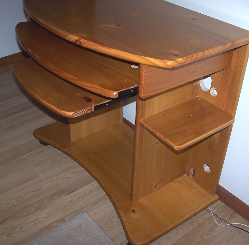 Pine Computer Desk Side Shelves Drawer For Keyboard And Other Printer Shelf