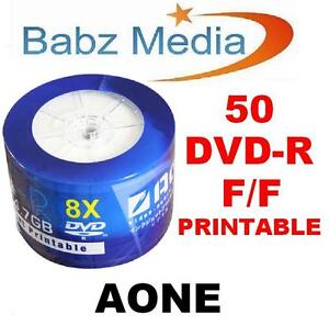 50 BLANK DVD-R FULL FACE INKJET PRINTABLE DISC MEDIA 8x 4.7GB - AONE