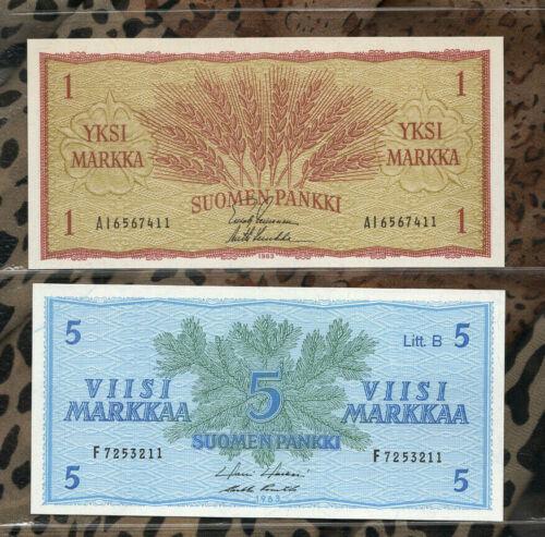 Banknotes of World Finland 1963 UNC 5 Markka P106Aa.41 1 Markka P 98a.9