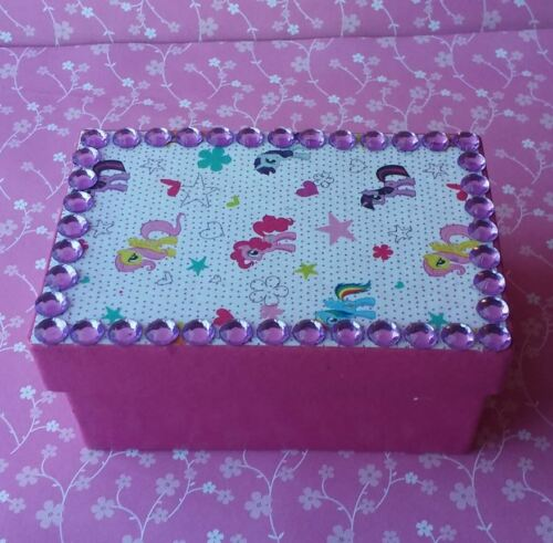 Handmade My Little Pony Pink & Purple Paper Mache Trinket Jewelry Gift Box