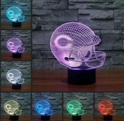 NFL Chicago Bears Helmet 3D illusion Color Change LED Night Light Table Lamp USA