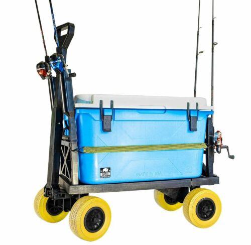 Fishing Cart, Mighty Max Fishing Cart for Cooler Caddy & Fishing Poles (Yellow)