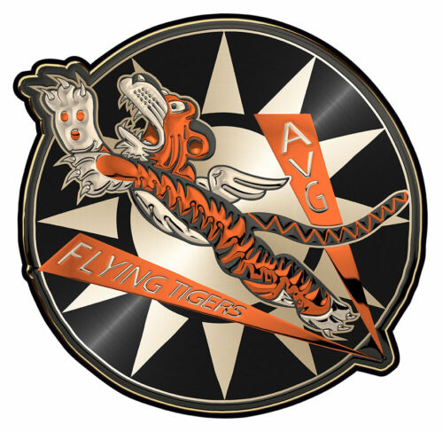 "WWII Flying Tigers All Metal Sign 14x 14"" Round"