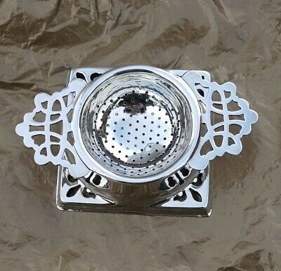 Charming Art Nouveau Silver Plate On Brass Tea Strainer & Base