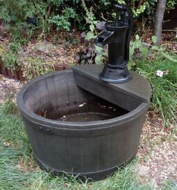 Polyresin Half Barrel Water Feature - NO PUMP included