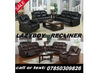 BRAND NEW RECLINER LEATHER SOFA BLACK OR BROWN