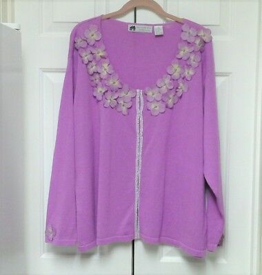 HSN Storybook Knits Lavender Purple Cardigan 2X Sweater Flower Neckline