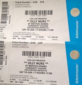 1x Olly Murs Ticket Colchester Saturday 10th June