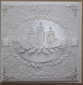 Handmade Luxury christmas card with a white on white candles and holly design
