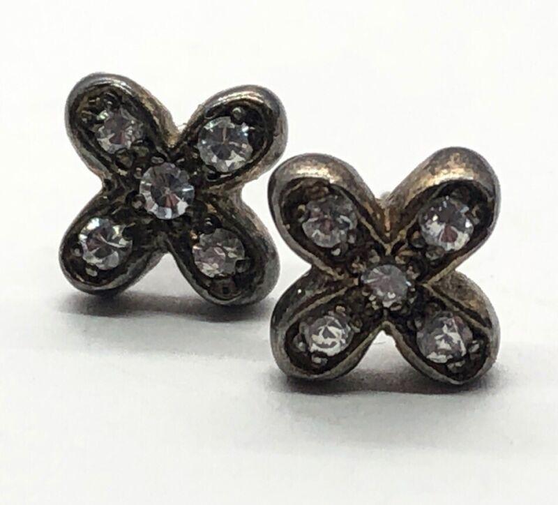 Vintage Sterling Silver Earrings 925 CZ Flower