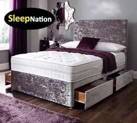 "Crush Velvet Divan Bed with 10"" Cloud 9 Memory Foam Sprung Orthopaedic Mattress"