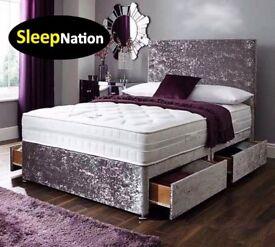 Crush Velvet Divan Bed with 10 inch Cloud 9 Memory Foam Sprung Orthopaedic Mattress