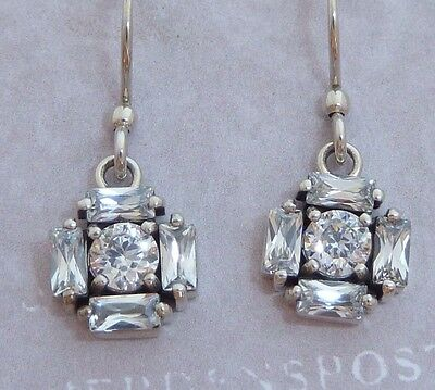 Sterling Dangle Earrings, 4mm & 4 X 2mm White Cubic Zirconia, Konder, #907