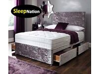 Crush Velvet Divan Bed with 10inch Cloud 9 Memory Foam Sprung Orthopedic Mattress