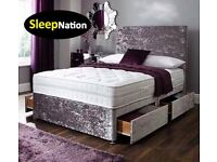 Crush Velvet Divan Bed with 10 inch Cloud 9 Memory Foam Sprung Orthopaedic Mattress