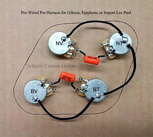 les paul pots parts accessories upgraded 50s style wiring harness fits les paul cts 500k long shaft pots