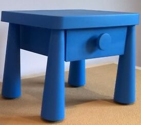 "bedside table , small drawer, kids, IKEA, ""Mammut"", blue , plastic."