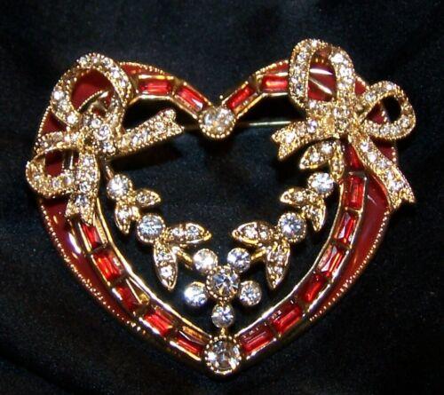 Napier Rhinestone Heart Bow Pin Brooch-Valentine