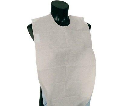 Disposable Adult Lap Bibs Paper Poly Bib Slipover Apron, White - LOT OF 600!!