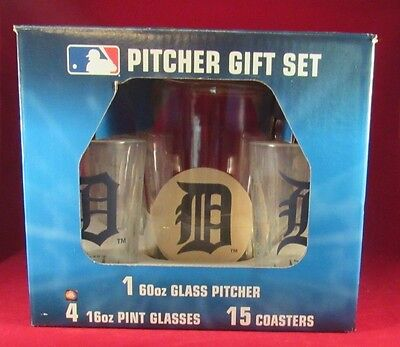 2007 MLB DETROIT TIGERS GLASS (NOT PLASTIC) PITCHER, 4 GLASS, 15 COASTERS SET