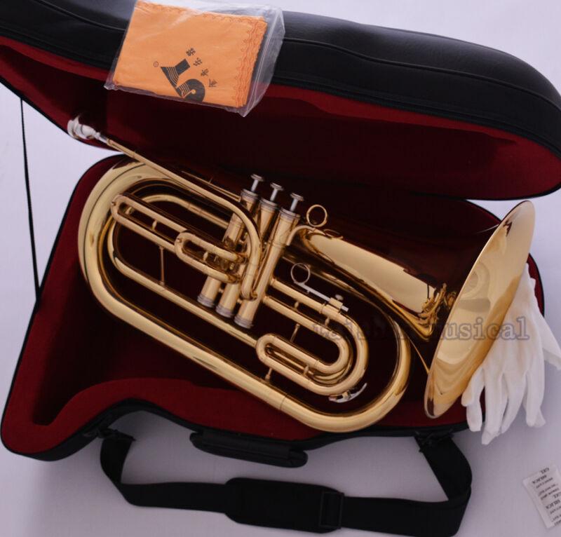 Professional Gold JINYIN Marching Baritone Horn Bb Key Monel Valves W/ Hard Case