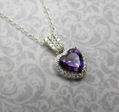 February Birthstone Heart - Purple Amethyst CZ Heart Pendant 925 Sterling Silver February Birthstone Jewelry