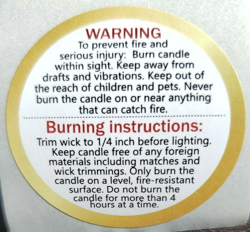 "Candle Warning Burning Instruction Labels | 1.5"" Inch Round 100"