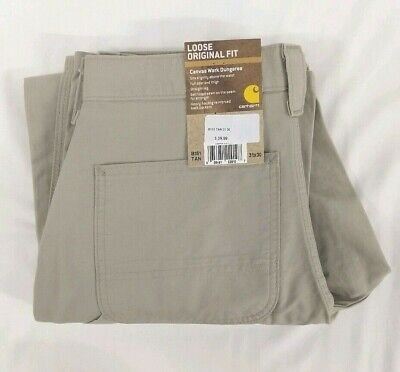 NEW Carhartt Canvas Work Dungaree Pants Loose Original Fit Tan 31x30 Khaki B151