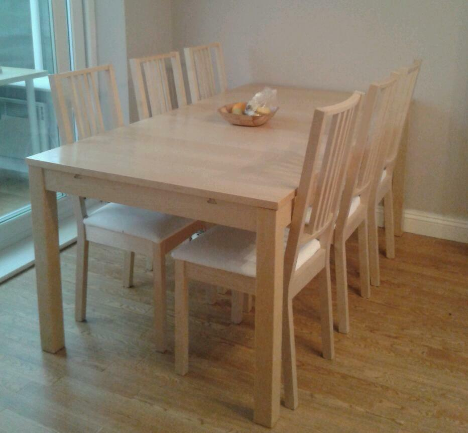 Ikea bjursta series extendable table birch in cheadle for Extendable table ikea