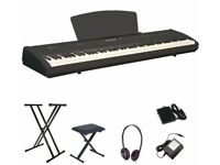 Electric Digital Piano P-65 with stool, X stand, headphones & 3-pedal-box