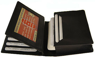 Mens Expandable Genuine Leather Credit Business Card Holder Flap ID Wallet