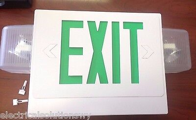Hubbell Combination Exit Sign Emergency Light Dual Side Mt Heads Smxwg3rl 1-face