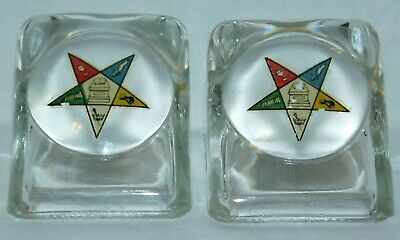 Order of the Eastern Star vintage magnifying glass paperweight OES 2 5/8