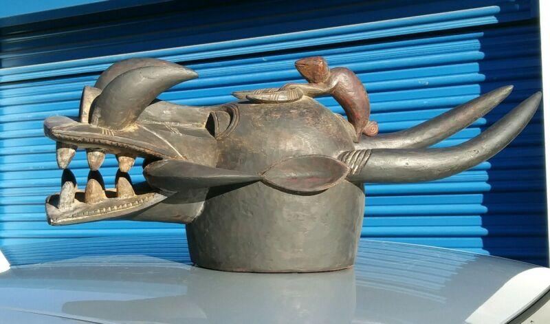 Devil horned Tribal wood carving Senufo Firespitter Helmet Mask Cote d