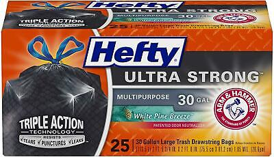 Hefty White Pine Breeze Ultra Strong Large Trash Bags,30 Gallon, 25 Count, Black