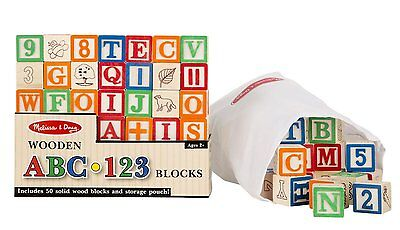 Melissa  Doug Deluxe 50-piece Wooden ABC/123 Blocks Set (colors may vary), New