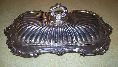 LEONARD Silverplated Vintage Covered Butter Dish  +  Glass Insert