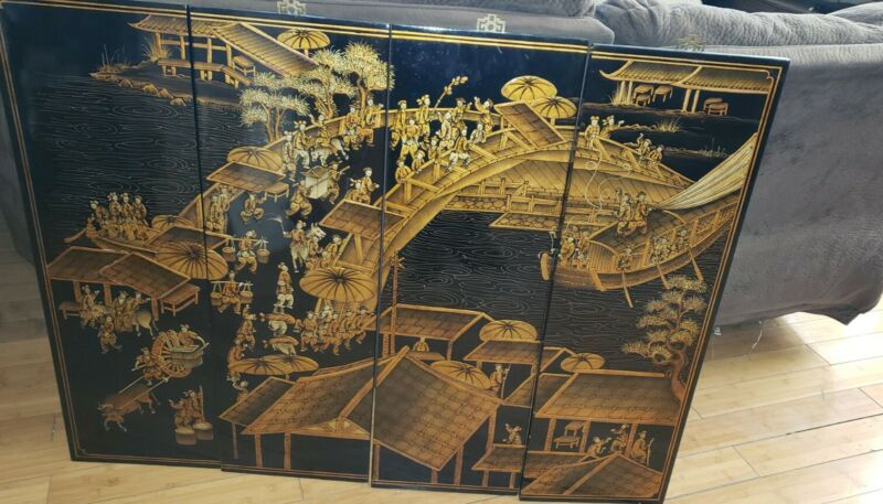 "Lacquer Art ~ Chinese Lacquer Wall Panels ~ 4 Panels 48""x 36"""