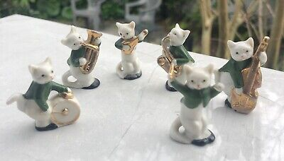 Vintage 6pc Kitty Cat Band Mini Figurines Marked Germany