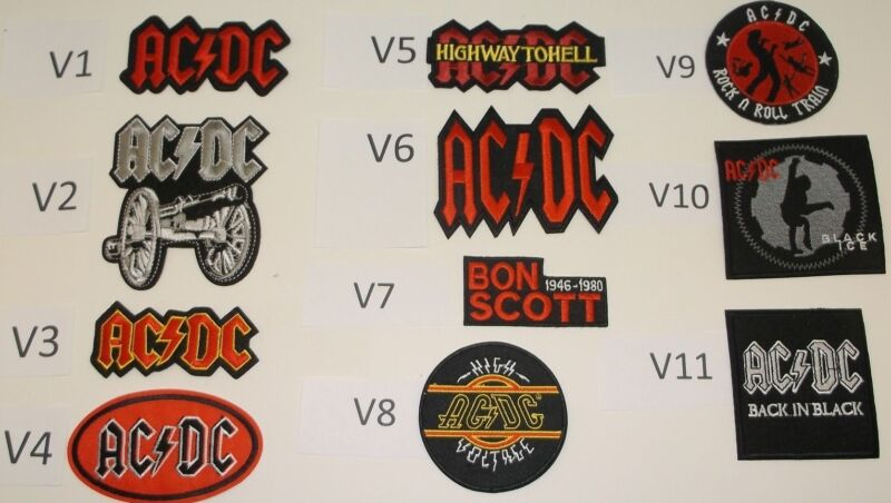 AC/DC Rock & Roll Patch Patches~Many Versions~Embroidered~Appliqued~Iron Sew On