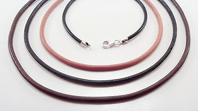 3mm smooth leather sterling silver necklace black brown natural u pick length Black Leather Sterling Silver Necklace