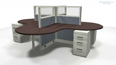 4 Person L Shaped Cubicles Workstations Glass Panels Electric Many Colors