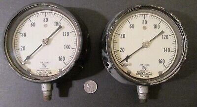 2 Vintage Large Gauges 5 34 Ashcroft Bronze Tube Duragauge Mp 7235 Steampunk