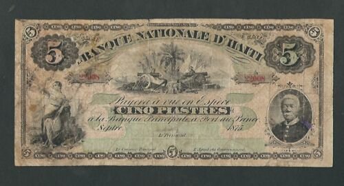Haiti - Five (5) Piastres, 1875