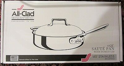 NEW All Clad 5-Ply D5 Stainless Brushed 4 Qt Quart Saute Pan Domed Lid NIB $330