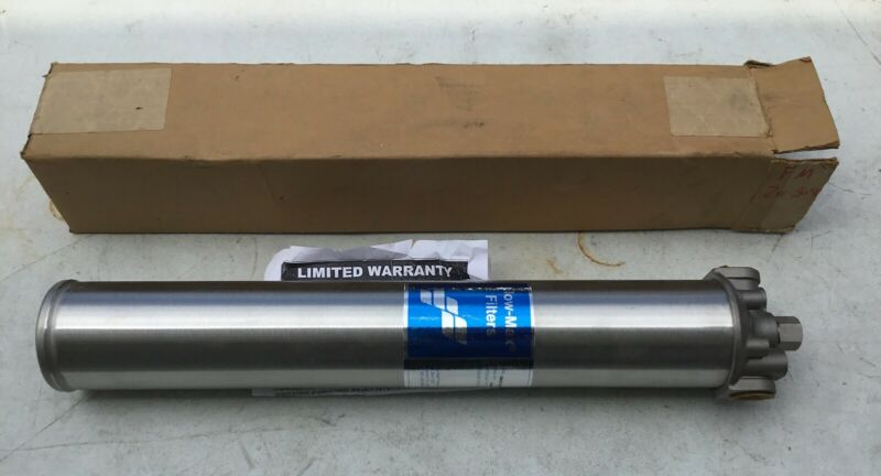 """NEW Flow-Max FM20-304-34 20"""" Stainless In-Line Filter Housing; 3/4"""" NPT"""