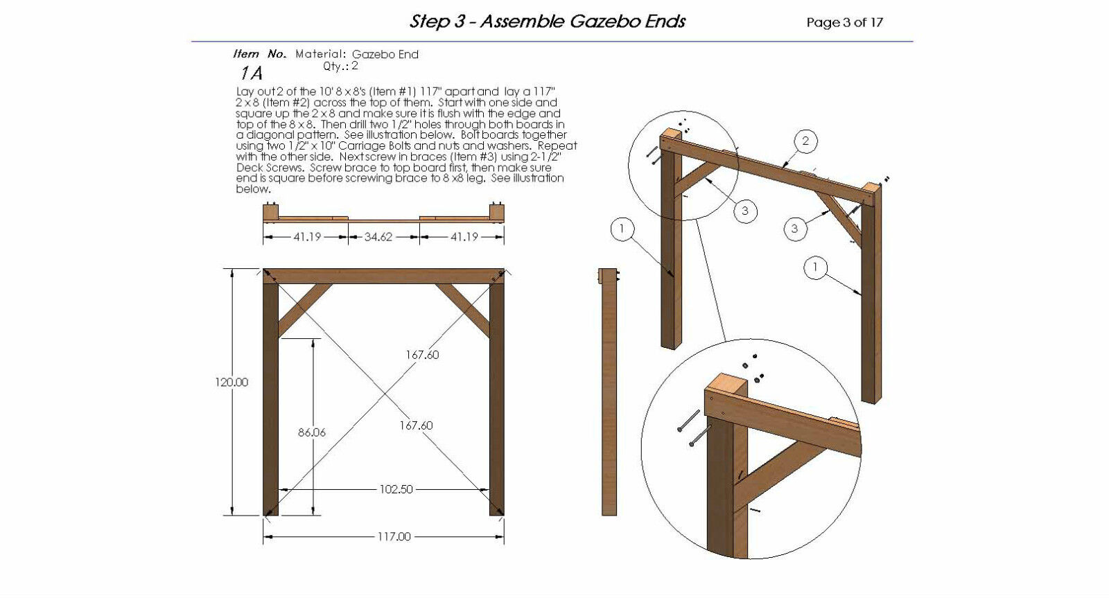 Square gazebo with open sides plans easy to build for How to build a cupola plans free