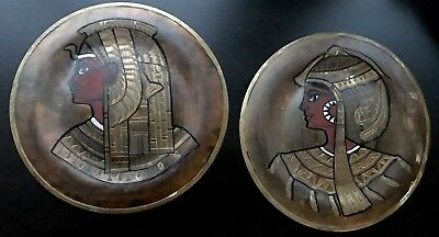 Pair of Vintage Copper Brass Silver Egyptian Plates - wall hangings