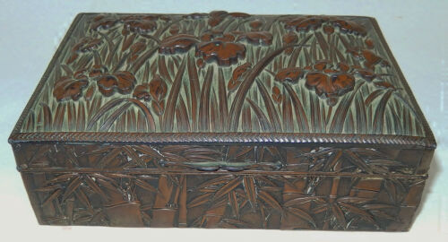 Vtg. Chinese Metal & Wood Lined Cigarette Box with Irises in Raised Relief